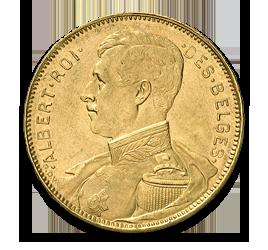 Albert I, 20 Belgian Francs, 5.81g Gold, 1909-1934