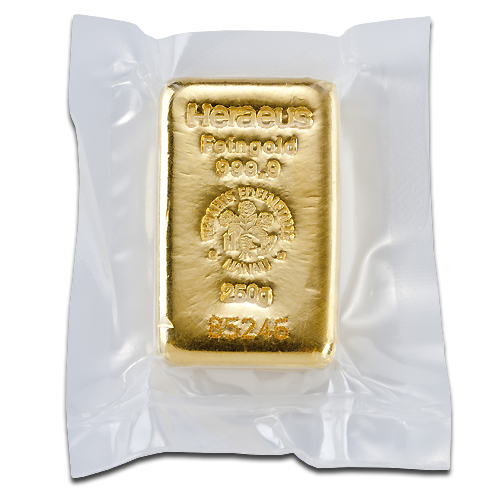 250 Gram Heraeus Gold Bar