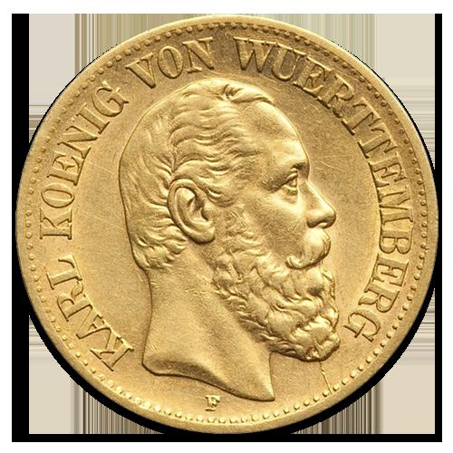 10 Mark Gold King Karl Wurttemberg 1864 1891
