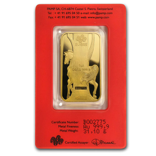 1 Ounce PAMP Suisse Gold Bar - Lunar Horse Series