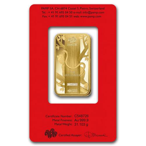 1 Ounce Pamp Suisse Gold Bar Lunar Monkey Series