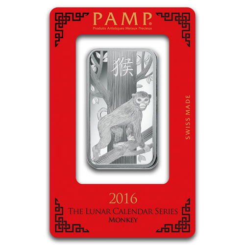 1 Ounce Pamp Silver Lunar Monkey Bar