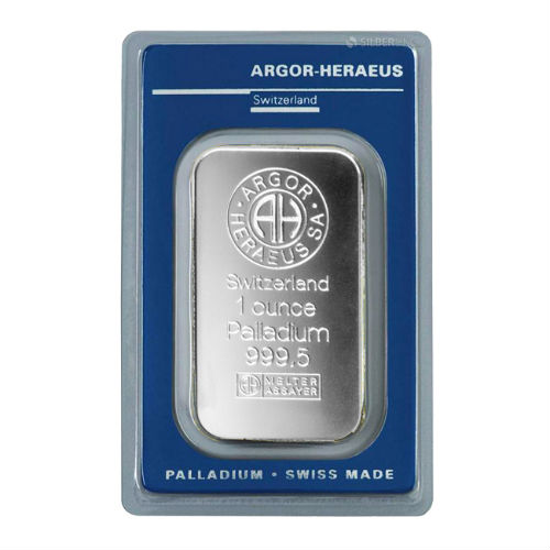 1 Oz Argor Heraeus Palladium Bar