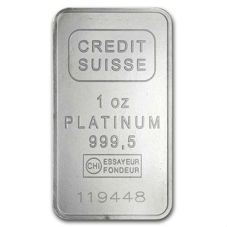 1 Ounce Credit Suisse Platinum Bar