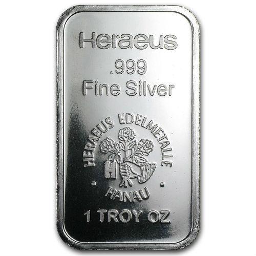 1 Ounce Heraeus Silver Bullion Bar