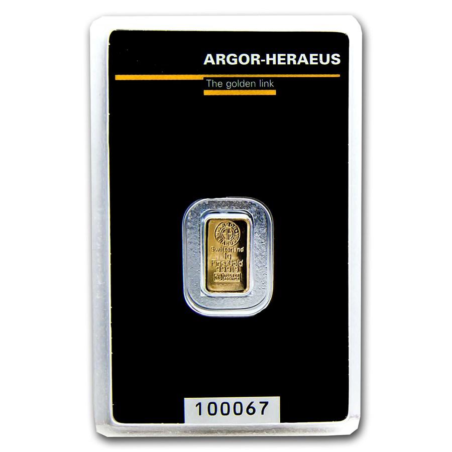 1 Gram Argor Heraeus Gold Kinebar