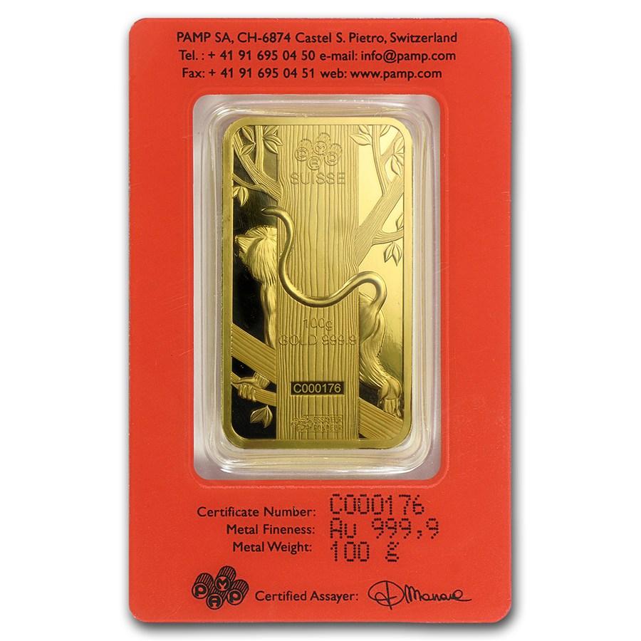 100 Gram Pamp Suisse Gold Bar Lunar Monkey Series