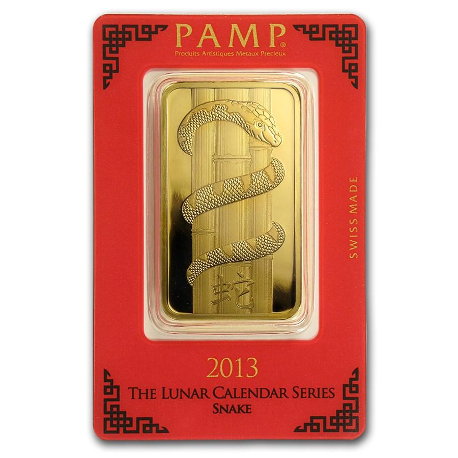 100 Gram Pamp Suisse Gold Bar Lunar Snake Series